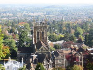 Malvern Priory, countryside in background