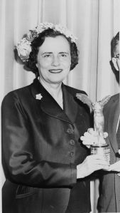Mary Lasker, presenting an award in 1957