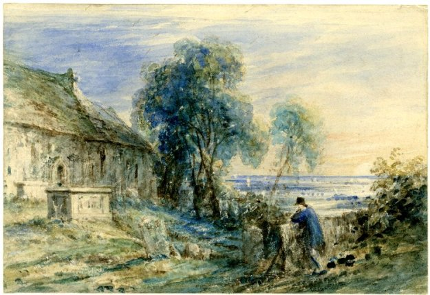 John Constable, Scene in a Churchyard on a Hill (1833). British Museum